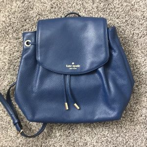 New Authentic Kate Spade Blue Leather Backpack